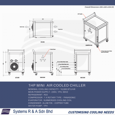 1HP Mini  Air cooled Chiller