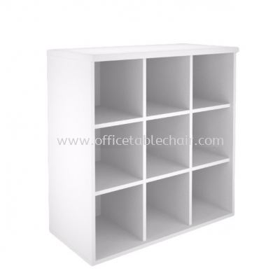 LOW PIGEON HOLE CABINET (WHITE)