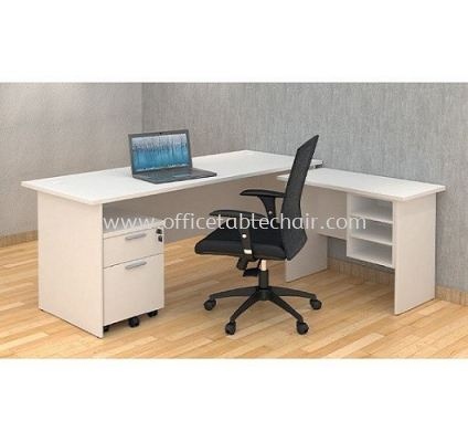 5FT RECTANGULAR WRITING OFFICE TABLE WOODEN BASE C/W SIDE OFFICE TABLE & MOBILE OFFICE PEDESTAL 1D1F GENERAL SET (WHITE)