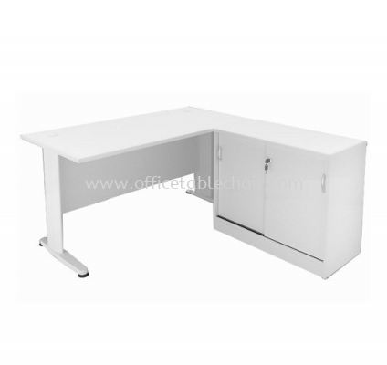 5FT WRITING OFFICE TABLE METAL J-LEG WITH SLIDING SIDE CABINET (WHITE)