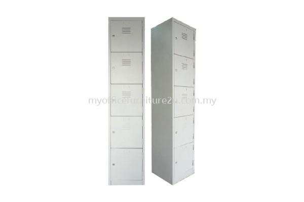 S114/E Steel Locker 5 Compartments (Light Grey)