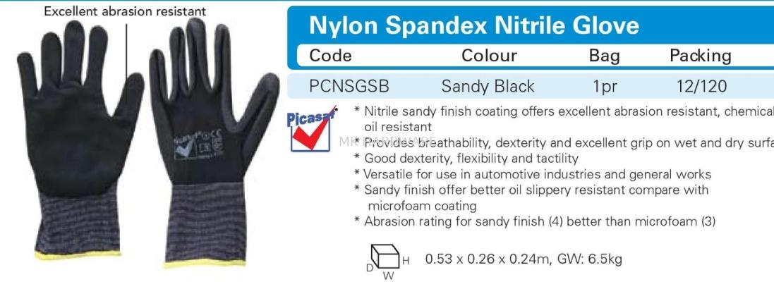 NYLON SPANDEX NITRILE GLOVE