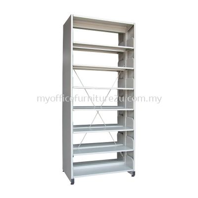 S327 Library Rack Double Sided with Side Panel 7 Level (Light Grey)