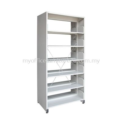 S326 Library Rack Double Sided with Side Panel 6 Level (Light Grey)