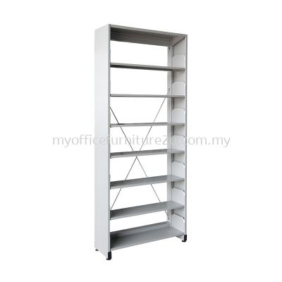 S317 Library Rack Single Sided with Side Panel 7 Level (Light Grey)