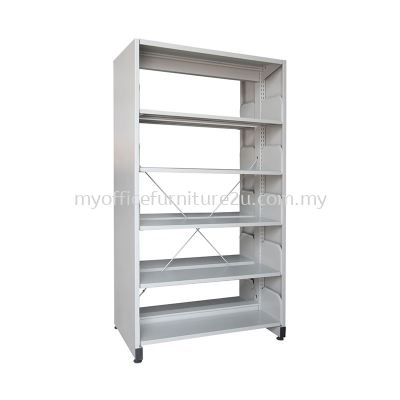 S325 Library Rack Double Sided with Side Panel 5 Level (Light Grey)