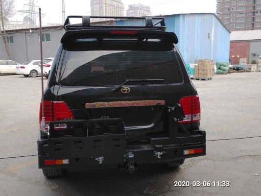 TRI RB9 REAR BAR WT DOUBLE JERRY CAN & TYRE CARRIER TOYOTA LC100