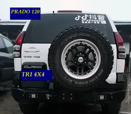 TRI RB8 REAR BAR WT JERRY CAN & TYRE CARRIER TOYOTA PRADO 120
