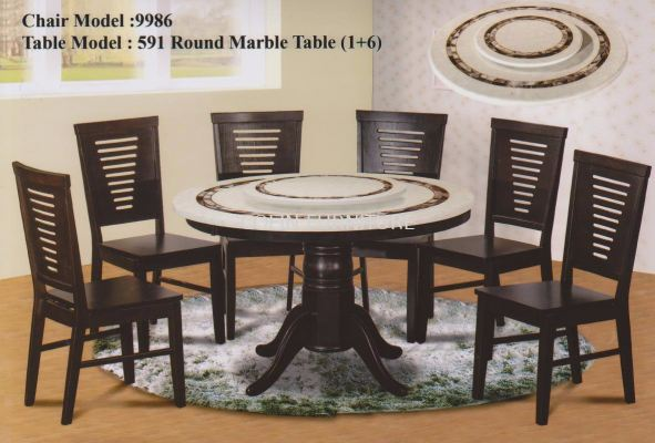 Round Mable table DT591 with Solid leg+Solid chair