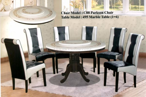 Round Mable table DT495 with Solid leg+Parkson chair