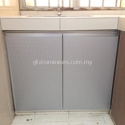 cabinet swing door + Aluminium composite panel ( holes) @737 Residence. jalan selasa 9,Kuala Lumpur