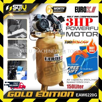 EUROX GOLD EAW-6220G / EAW6220G 3HP 8 Bar Air Compressor 150L With Free Gift