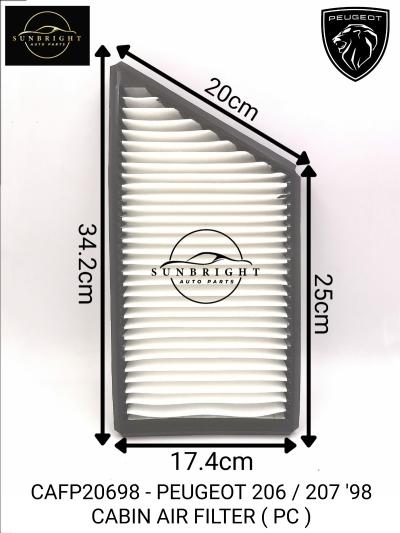CAFP20698 - PEUGEOT 206 / 207 '98 CABIN AIR FILTER ( PC )