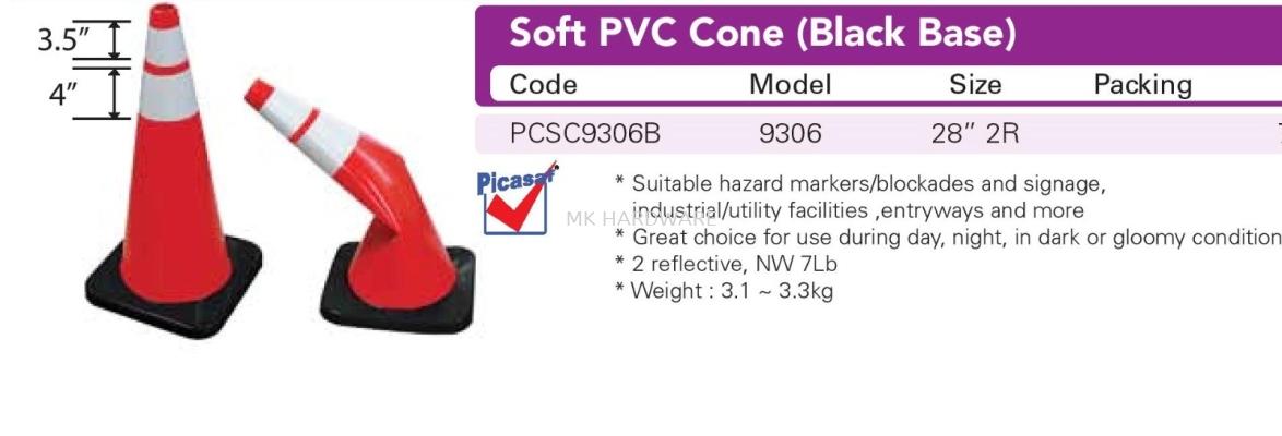 SOFT PVC CONE (BLACK BASE)