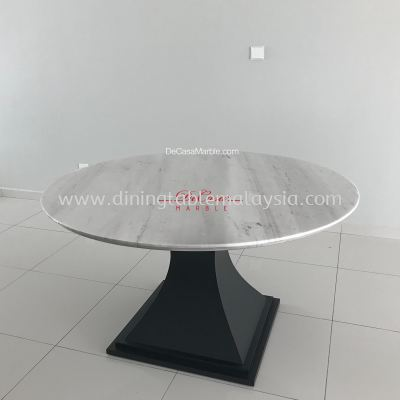 Majestic White Greece Marble Dining Table | Sivec White | 6 Seaters