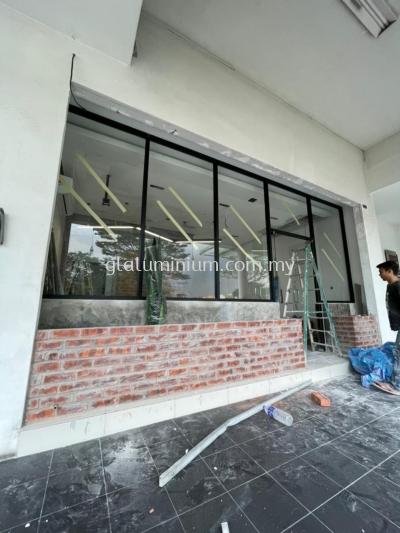 shopfront aluminium p/c Black + 5mm clear glass @Warung lebai Dollah, Laman Seri Business Park, shah Alam, Selangor