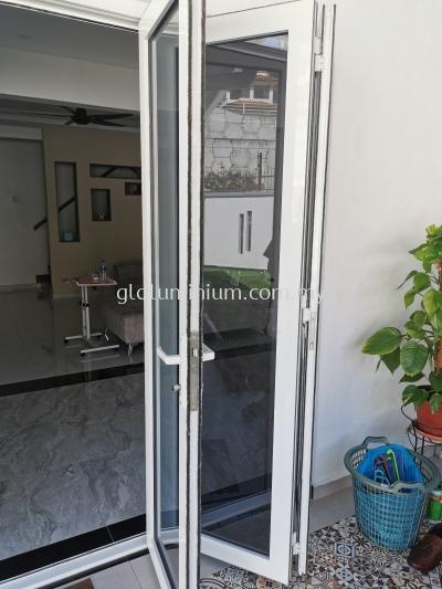 Heavy duty folding door p/c white + green glass @jalan Damai Perdana 9/2G,Bandar Damai Perdana, Kuala Lumpur