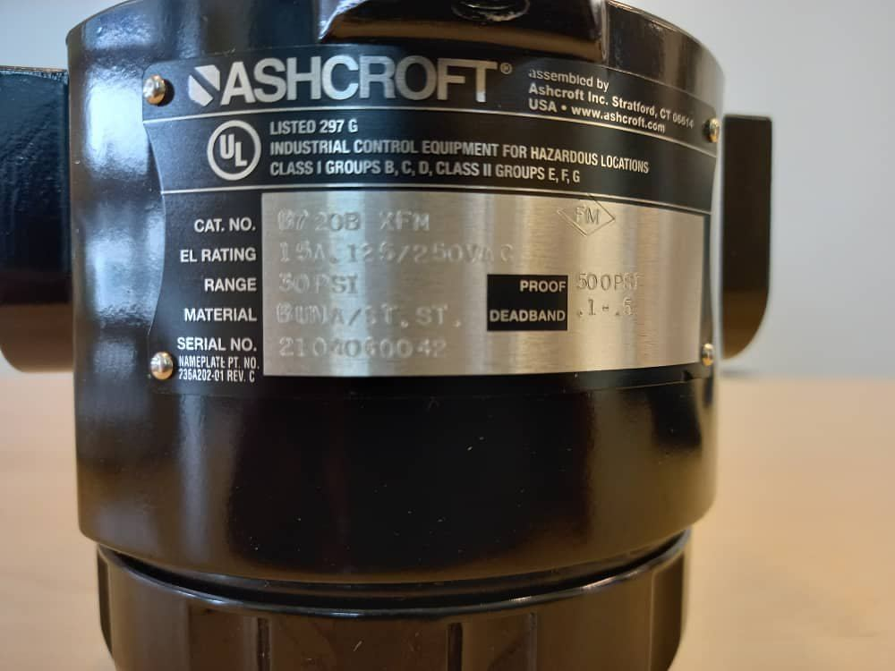 ASHCROFT Differential Pressure Switch 700 Explosion Proof D7 20B FM Approved