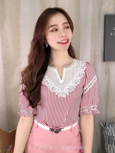 80932 Stripy Rubber Sleeved Top
