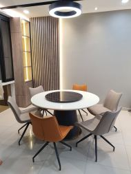 Metal leg with Mable dinning table with Modern Chair