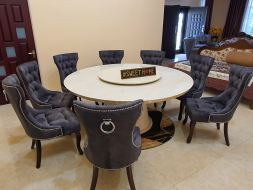 Royal Chair with Tiger leg 6ft Round Marble Table