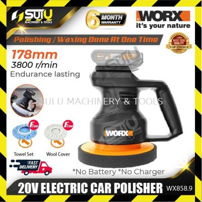 Worx WX858.9 20V 178mm Electric Car Polisher 3800rpm (SOLO - WITHOUT BATTERY & CHARGER)
