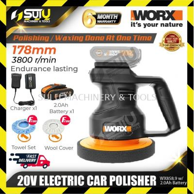 Worx WX858.9 20V 178mm Electric Car Polisher 3800rpm w/2.0Ah battery + Charger + Free Gift