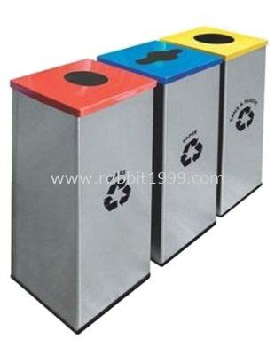 STAINLESS STEEL & POWDER COATING SQUARE RECYCLE BIN - RECYCLE-128/SS