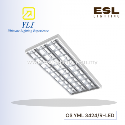 YLI T8 LED Mirror Louver Fitting type R (Recessed T-Bar Ceiling - Imperial / Metric Size)