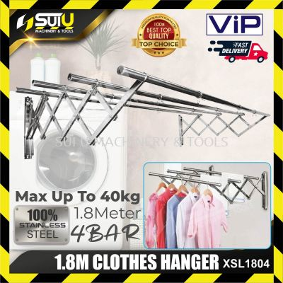 VIP XSL1804 1.8M | 4 BAR | STAINLESS STEEL WALL MOUNTED CLOTHES HANGER
