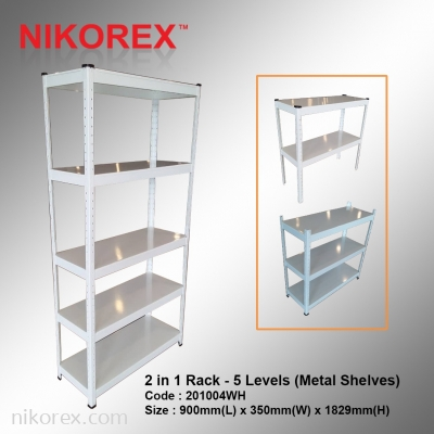 201004WH - 2 in 1 Rack - 5 Levels (Metal Shelves)