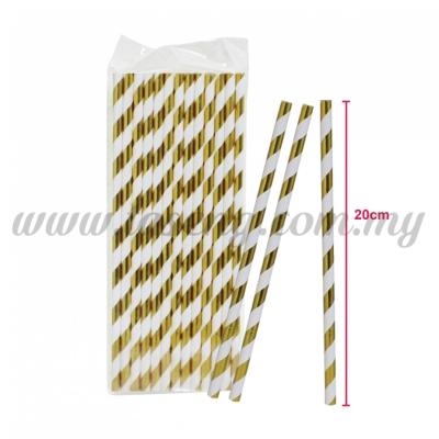 Paper Straw Stripe - Gold (P-SAW-9001GO)