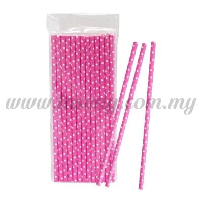 Paper Straw Polka Dot Small - Pink (P-SAW-9004P)
