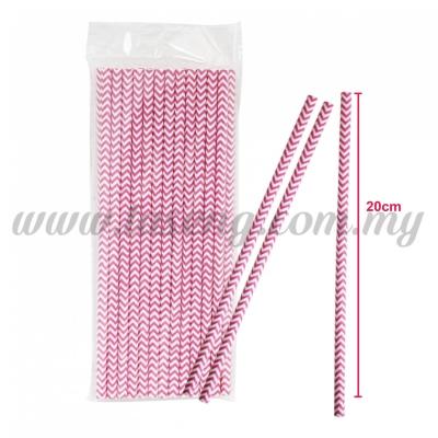 Paper Straw ZigZag - Pink (P-SAW-9002P)