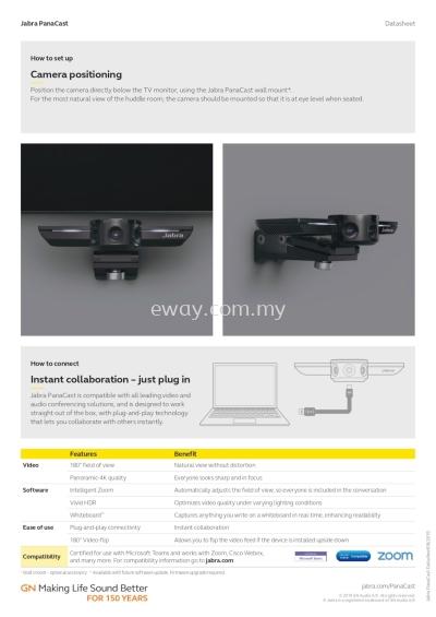 Jabra PanaCast 4K Camera Video Conferencing System