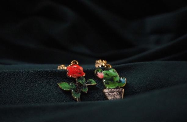 Rose & Cactus Earrings