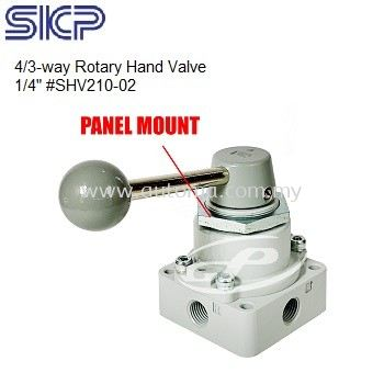 """SKP 1/4"""" Rotary Hand Valve 4/3-way Center Closed with Panel Mount #SHV210~02"""