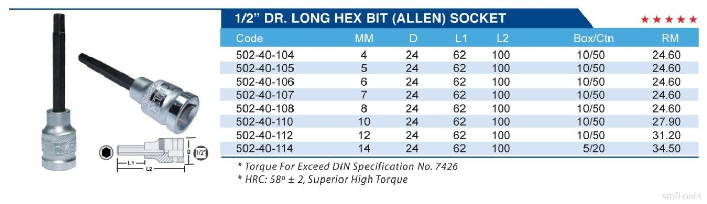 "1/2"" DR. LONG HEX BIT (ALLEN) SOCKET"