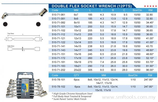 DOUBLE FLEX SOCKET WRENCH (12 PTS)