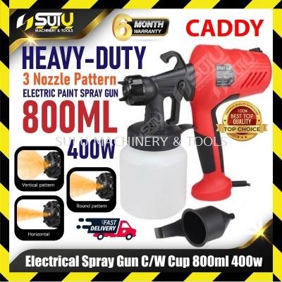 Caddy Heavy Duty Electrical Paint Spray Gun c/w Cup 800ML 400W  (3 Nozzle Pattern)
