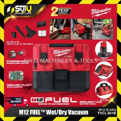 Milwaukee M12 FVCL-601B 6.1L FUEL Wet / Dry Vacuum Brushless Motor 105mbar w/ Battery & Charger