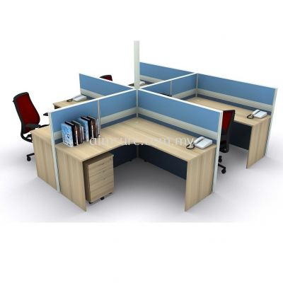 4 pax L shape workstation with full board panel