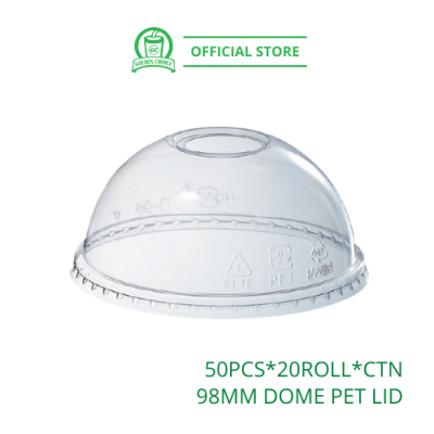 98mm DOME PET LID - for 16oz PET Cup | Quality | Solid | Takeaway | Cap
