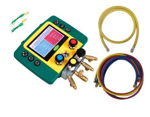 """Refco REFMATE 4 Four Way Digital Manifold with Charging Hose and 3/8"""" Vacuum Hose"""