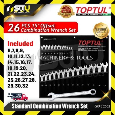 TOPTUL GPAB2602 26pcs 15�� Offset Standard Combination Wrench Set