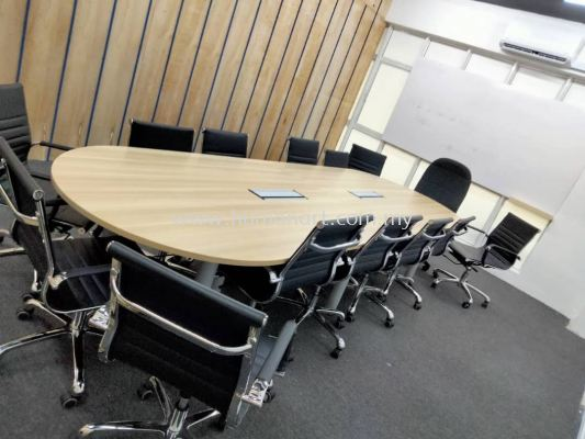 DELIVERY INSTALLATION OVAL MEETING TABLE (INCLUDED FLIPPER COVER) QIC 30 & SEFINA LOW BACK LEATHER CHAIR OFFICE FURNITURE DAMANSARA HEIGHT, PETALING JAYA