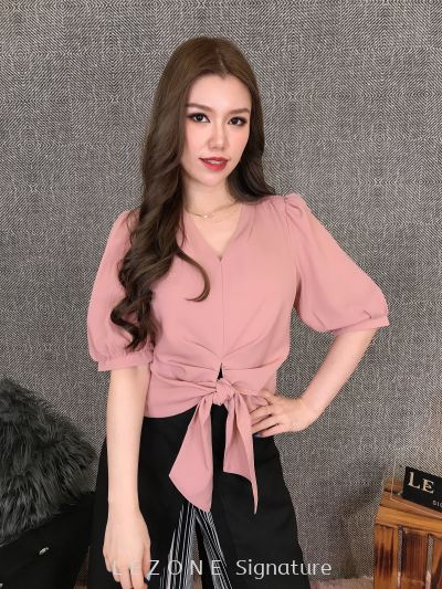 3571 Tie Band Puff Sleeved Top