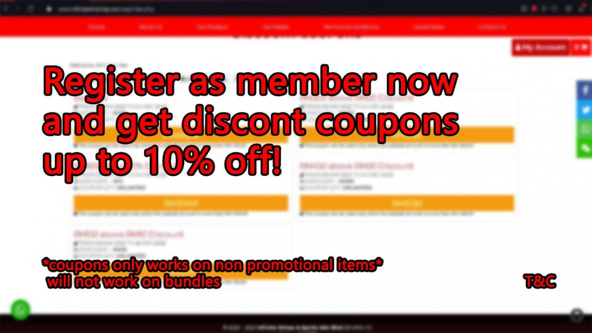 Register as member and get discount coupons!