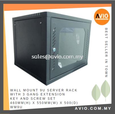 Wall Mount 9U Server Rack with 3 Gang Extension Key and Screw Set 460mm(H) x 550mm(W) x 500(D) WM9U