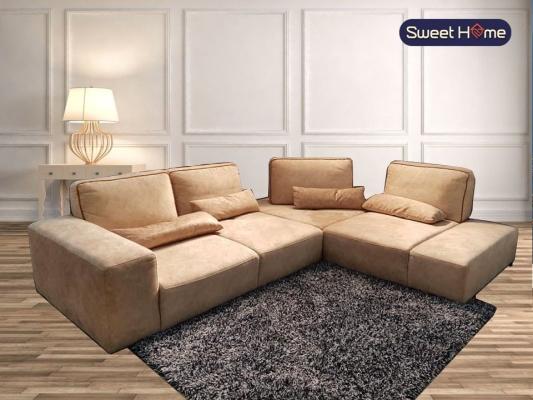 Retractable Push Back C shape Sofa Aqua Fabrics